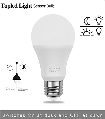 Topled Light Sensor Light Bulb, 7W Dusk to Dawn Smart LED Bulb Auto on/off Lighting Lamp for Porch, Hallway, Patio, Garage (600lm, E26/E27, White 6000K)