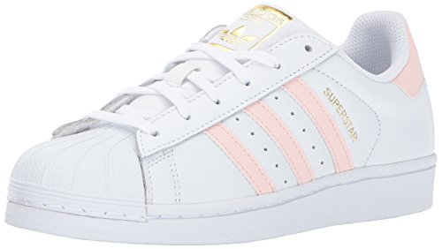 adidas Originals Women's Superstar W, White/Ice Pink/Metallic Gold, 10.5 Medium US