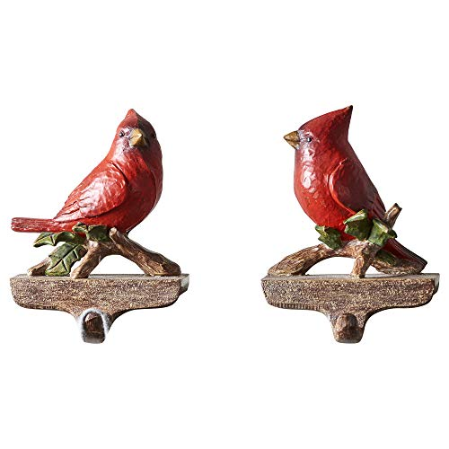 Gift Craft Cardinal on Holly Branch 4 x 6 Inch Resin Stone Stocking Holders Assorted Set of 2 ()