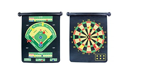 J&J's ToyScape Double-Sided Magnetic Dartboard Game With 6 Darts (2 Styles: Classic Dart, Base Ball Dart) Roll-up Wall Hanging DartBoard by J&J's ToyScape