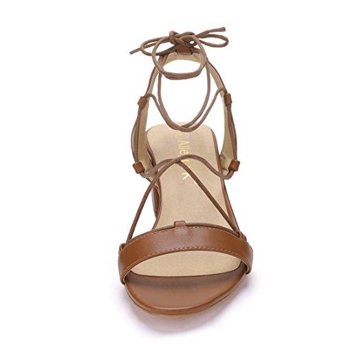 Sandalias y Allegra para tacón K cordones Marrón mujer alto con rHwaE67Xqr