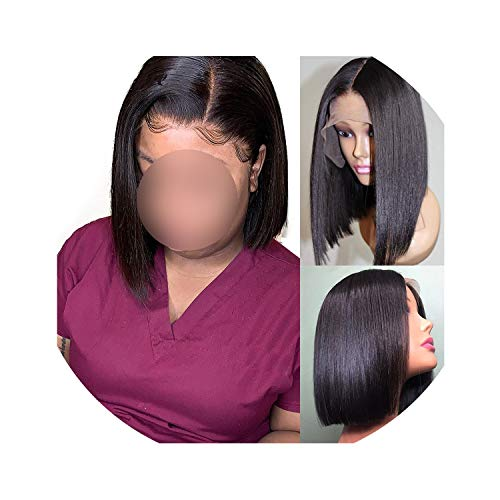 13x6 Lace Front Human Hair Wigs Straight Full 360 Frontal Wig Brazilian Virgin Bob Short Wigs For Black Women 4x4 closure wig,Natural Color,10inches,13X4 Frontal Wig