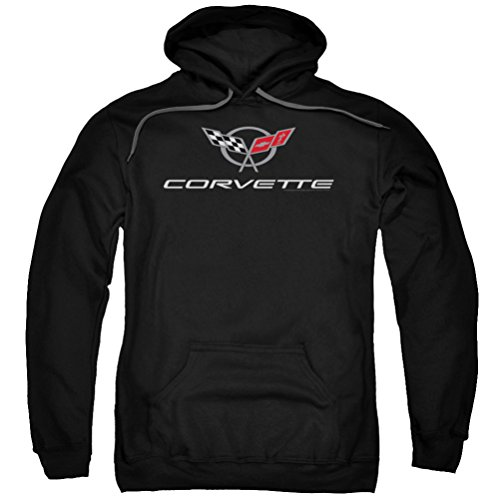 Chevy Corvette Emblem Hoodie, Black, Medium