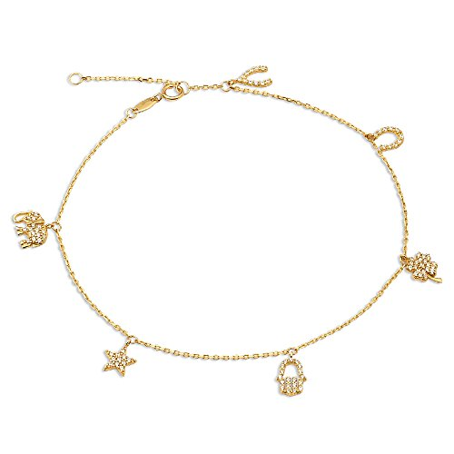 10k Yellow Gold Anklet For Women Lab Diamonds Bare Foot Beach Wear Elephant Star