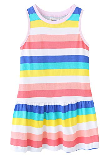 Fiream Girls Summer Casual Dresses Cotton Short Sleeves Flower Dresses(JP023,9-10 Years)]()