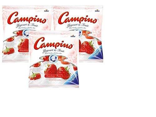 Campino Strawberry Yogurt and Fruit Hard Candies (3 pack) (Creme Savers Hard Candy Strawberry & Cream)