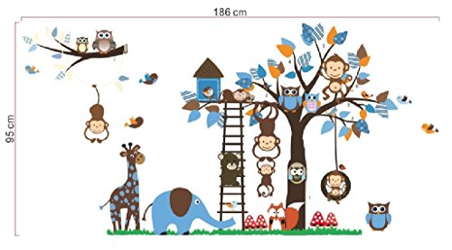 Boys Room Wall Decals - Forest Creatures and Zoo Animals With Tree Stickers - Removable Boys Toys Wall Art for Growing Kids or Nursery Decoration - Easy Peel and Stick on Smooth Surfaces - High Quality Adhesive -Best Lifetime Guarantee-Easy Cleaning ()