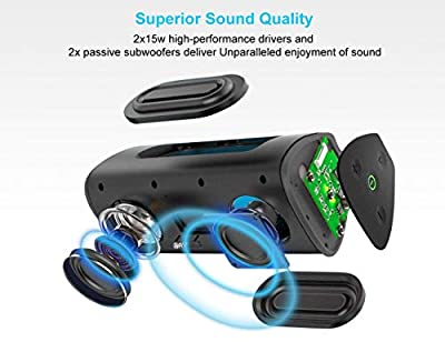 AY Wireless Bluetooth Speaker 4.2, Portable Speaker with 30W Enhanced Bass,TWS Supported, IPX7 Waterproof, 24H Playtime,Perfect for Echo dot,Home, Outdoors, Travel