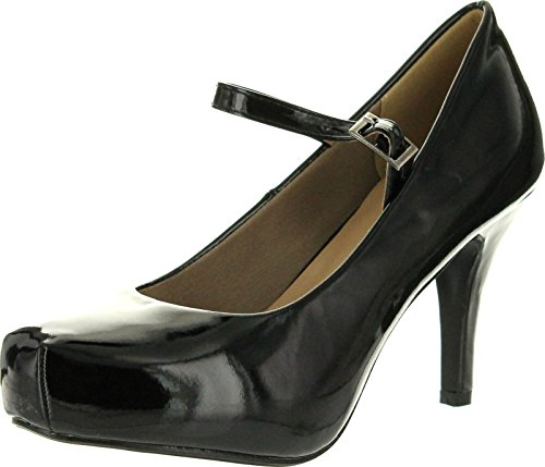 Ankle Strap Pump Shoes (Delicacy Womens Cyndi-91 Ankle Strap Mary Jane Dress Pumps Shoes,Black,7.5)