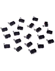 Cylewet 20Pcs Momentary Hinge Metal Roller Lever Micro Switch AC 5A 125 250V SPDT 3 Pins (Pack of 20) CYT1096