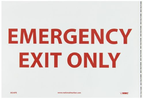 """NMC M34PB Exit/Entrance Sign, Legend """"EMERGENCY EXIT ONLY"""", 14"""" Length x 10"""" Height, Pressure Sensitive Vinyl, Red on White"""
