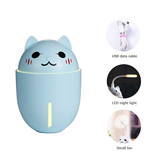 Teng Peng Mini Ultrasonic Cool Mist 320ml ,3 in 1 Small Fan lamp cans and Night Light Function Cute cat car Spray air Hydrating,Aromatherapy Machine air humidifier (Color : ()