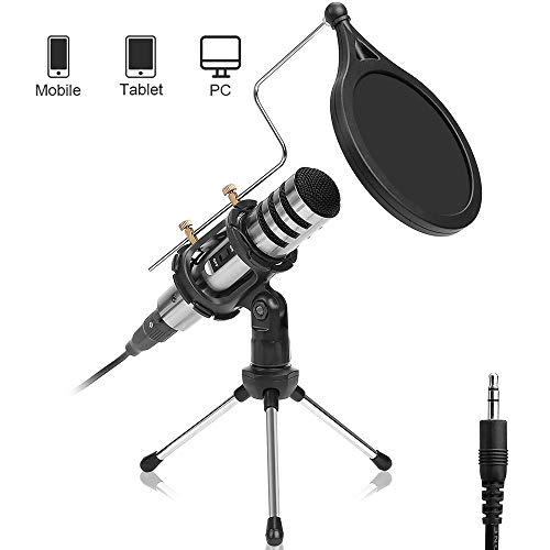 DricRoda Microphone for Phone, 3.5mm Condenser Microphone Studio Recording Broadcast Computer Microphone Mic with Tripod Stand, Pop Filter for Karaoke, Gaming, Podcast,Conference,Facebook,YouTube(X-3)