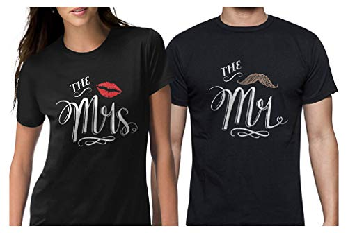 Mr & Mrs Gift for Couples Wedding, Anniversary, Newlywed Matching Set T-Shirt Men X-Large/Women Medium Black ()