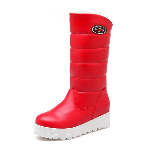 Toe Solid Mid Blend Red Boots Materials Allhqfashion Calf Closed Round PU Women's q7wZt