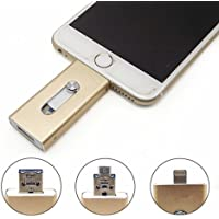 Nwell Apple Cell Phone USB Flash Drive 64GB i-Flash U-Disk Memory Stick for Computer, iPhone & iPad (Lightning Connector) and Android Cell Phone-Gold (Gold)