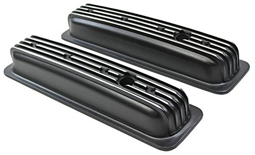 1987-99 SBC Chevy Black Aluminum Finned Valve Covers with Hole Short (Aluminum Short Valve Cover)