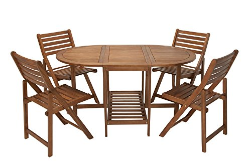 COSCO Outdoor Living 5 Piece Acacia Wood Patio Dining Table and Folding Chair Set with Chair Storage, Brown (Patio Table Wood Chairs)