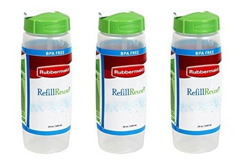 (Rubbermaid Sipp'n Sort Refill-Reuse Squeezable Sport Bottle, BPA Free, 20 Oz (Pack of 3))