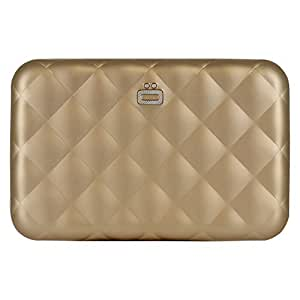 Ogon Quilted Zipper Aluminium Wallet for Women | Rfid Safe - 24 cards (Rose Gold)