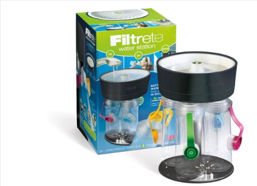 Filtrete 4-Bottle Water Station with Multicolored Bottle Tops, Black (Water Bottle Station compare prices)