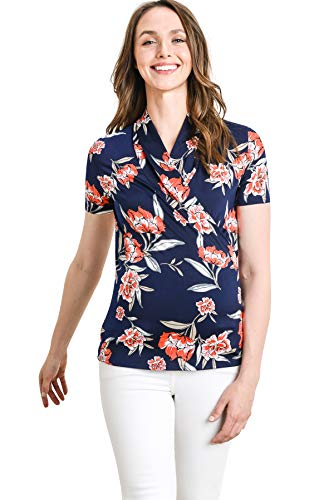 LaClef Women's Short Sleeve Surplice Maternity Nursing Top (Navy/Coral Foral, S)
