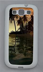 3D Islands And Tree TPU Silicone Rubber Case Cover for Samsung Galaxy S3 SIII I9300 White