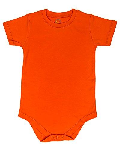 4T 5T 6T Bodysuit Short Sleeve Round Crew Neck - Orange