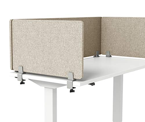 "VaRoom Acoustic Desktop Privacy Divider, 23""W x 18""H Sound Absorbing Clamp-on Cubicle Desk Divider Partition Panel in Tan Tackable Fabric"