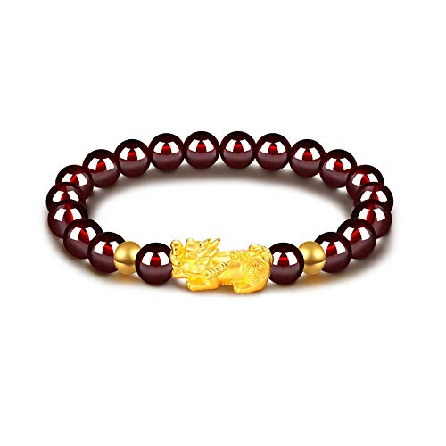 Feng Shui Amulet Bracelet Porsperity 8mm Red Garnet Bead Bracelet with 1 Gold Plated Pi Xiu/Pi Yao Lucky Wealthy Brecelet