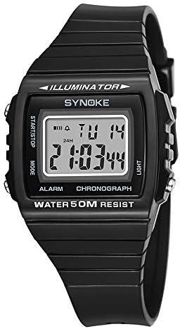 長方形ダイヤル 発光カレンダー アラーム ストップウォッチ デジタル腕時計 オールブラックプラスチックストラップ スポーツ 子供 男の子 腕時計