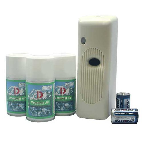 Cherry Aerosol - Big D 855 Metered Aerosol Starter Kit, Very Cherry Fragrance (Contains Dispenser, 2 Batteries, 3 Aerosol Cans) - Air freshener ideal for restrooms, offices, schools, restaurants, hotels, stores