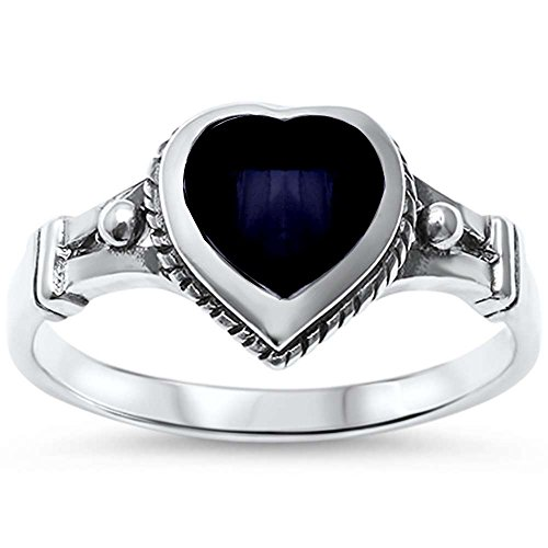 Sterling Silver Simulated Black Onyx Heart Celtic Ring Sizes 6