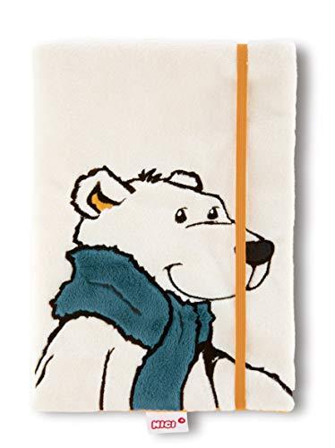 NICI 42054 Winter Notebook Polar Bear Bignic with Detachable Plush-Cover, DIN A%, White, A5 ()