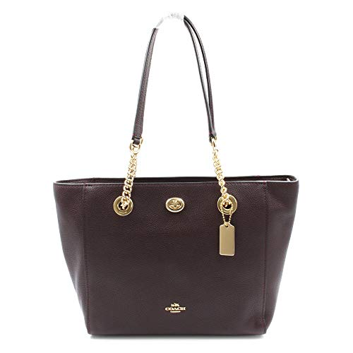 Coach Turnlock Ladies Large Leather Tote Handbag 57107