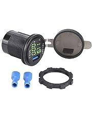 Billaddare dubbel USB bil snabbladdare med digital voltmeter ameterövervakning för telefon (grön)