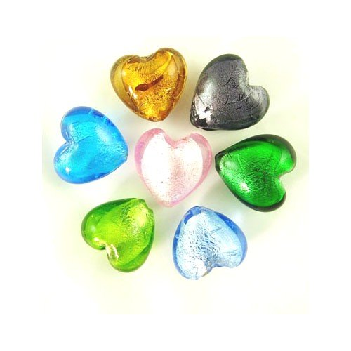 Packet 20 x Mixed Foil Glass 12mm Puffy Heart Beads Y05000 (Charming Beads)