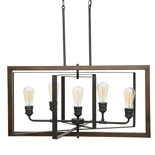 - Home Decorators Collection Palermo Grove Collection 5-Light Black Gilded Iron Linear Chandelier