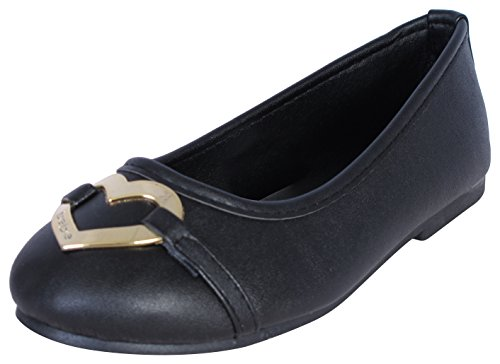 Gold Flat Heart (Bebe Girls Slip-on Ballet Flats with Heart Logo, Black/Gold, Size 11/12)