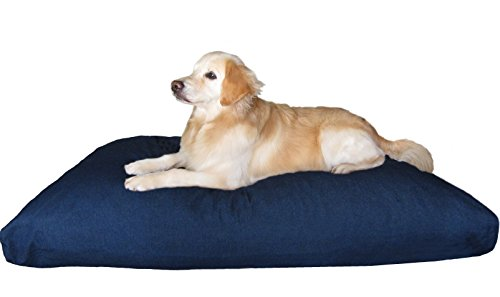 - Dogbed4less Overstuffed Memory Foam Pet Bed Pillow with Waterproof Durable Denim Cover for Large Dog XXL 55X37 Inches, Blue