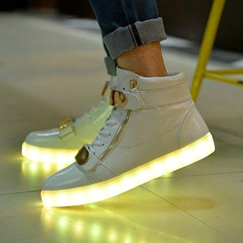 [Present:kleines Handtuch]JUNGLEST® Lackleder High-Top 7 Farbe LED Leuchtend Sport Schuhe Glow Sneakers USB Aufladen Turnschuhe für Unisex Herren Dam Weiß