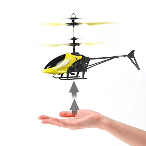 Heli Air Radio Rc (Aurorax Mini RC Helicopter with Radio Remote Control Aircraft Micro 2 Channel Best Birthday Christmas Festival Gift Mini Flashing Light Toys Flying Toys for Boys Girls and Adults (Yellow))