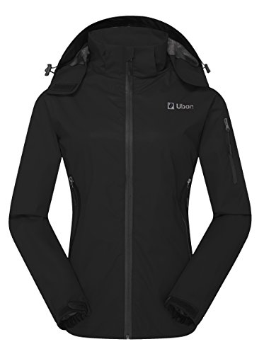 Ubon Women's Outdoor Waterproof Rain Coat Windproof Windbreaker Jacket(Black,US S) (Zippered Windbreaker)