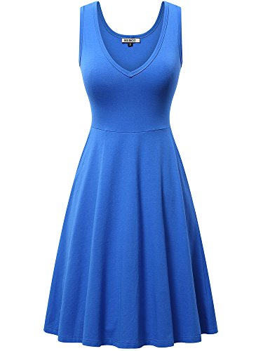 HUHOT Pocket Dresses,Womens Sleeveless A line Dress with Pocket Summer Beach Ladies Tank Dress(Blue,X-Large) ()