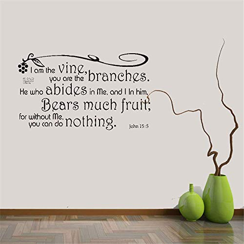 Wall Stickers Art DIY Removable Mural Room Decor Mural Vinyl Wall Decal Quote I Am The Vine You are The Branches He Who Abides in Me and I in Him John 15:5 for Living Room Bedroom -