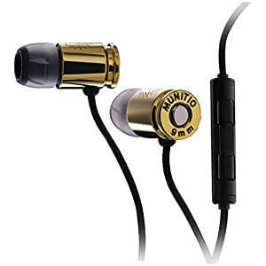Munitio NINES Tactical Earphones with 1 Button Universal Mic Control - Deep Gold