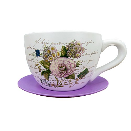 Carnation Pink Teacup Saucer Decorative Garden Planter 9.05
