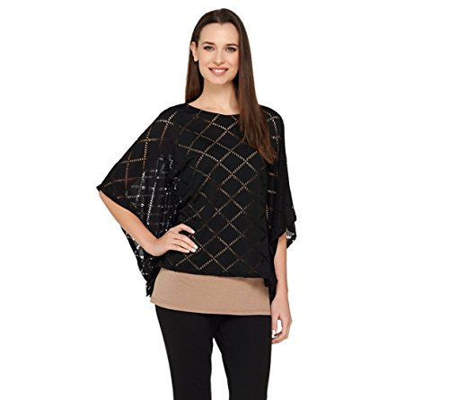 Lisa Rinna Collection Knit Caftan Top Laser Cut A263127  Black Taupe  L