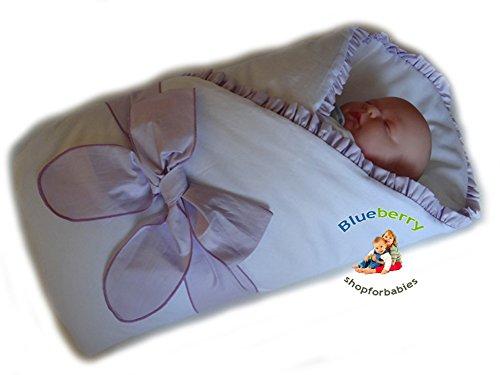 BlueberryShop Satin Wickeldecke Decke Bettdecke für Neugeborene Baby 100% Baumwolle 0-4M ( 0-3m ) ( 78 x 78 cm ) Violett