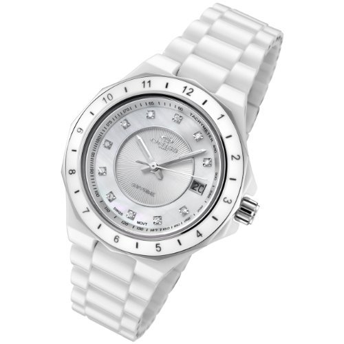 Oniss Ladies White Ceramic Dess Watch with Diamonds on8202-L